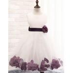 A-line Knee-length Flower Girl Dress - Cotton / Lace / Tulle / Polyester Sleeveless Flower Girl Dresses