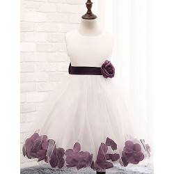 A Line Knee Length Flower Girl Dress Cotton Lace Tulle Polyester Sleeveless