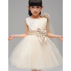 A Line Ball Gown Tea Length Flower Girl Dress Cotton Tulle Sequined Polyester Sleeveless