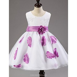 A Line Tea Length Flower Girl Dress Cotton Tulle Polyester Sleeveless