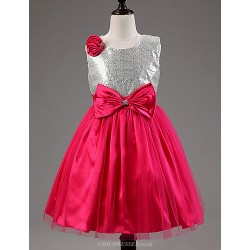A Line Tea Length Flower Girl Dress Cotton Tulle Sequined Polyester Sleeveless
