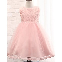 Ball Gown Tea-length Flower Girl Dress - Cotton / Lace / Tulle / Polyester Sleeveless
