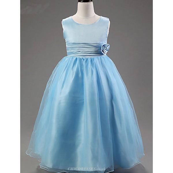 A-line Ankle-length Flower Girl Dress - Satin / Tulle / Polyester Sleeveless Flower Girl Dresses
