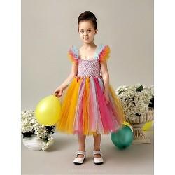 Flower Girl Dress Tea Length Tulle A Line Sleeveless Dress