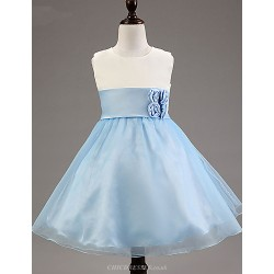 A Line Knee Length Flower Girl Dress Satin Tulle Polyester Sleeveless