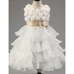 Ball Gown Knee Length Flower Girl Dress Satin Tulle Polyester Sleeveless