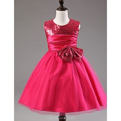 A-line Knee-length Flower Girl Dress - Satin / Tulle / Sequined / Polyester Sleeveless