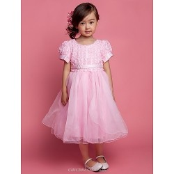 A Line Ball Gown Princess Knee Length Flower Girl Dress Tulle Polyester Short Sleeve