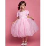 A-line/Ball Gown/Princess Knee-length Flower Girl Dress - Tulle/Polyester Short Sleeve Flower Girl Dresses