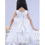 Engagement Party / Bridal Shower / Formal Evening / Wedding Party Dress - White A-line / Ball Gown / Princess Scoop Knee-lengthSatin / Flower Girl Dresses