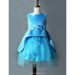 A-line Knee-length Flower Girl Dress - Cotton / Tulle / Polyester Sleeveless