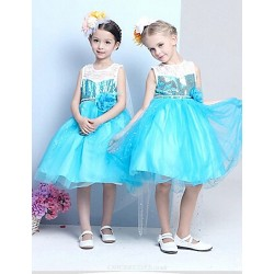 A Line Knee Length Flower Girl Dress Cotton Tulle Sequined Polyester Sleeveless