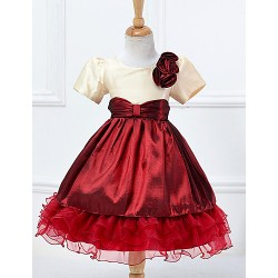 A Line Knee Length Flower Girl Dress Cotton Tulle Polyester Short Sleeve