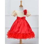 A-line Knee-length Flower Girl Dress - Cotton / Tulle / Polyester Short Sleeve Flower Girl Dresses