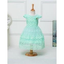 A-line Knee-length Flower Girl Dress - Chiffon / Tulle Short Sleeve