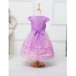 A-line Knee-length Flower Girl Dress - Chiffon / Tulle Short Sleeve Flower Girl Dresses