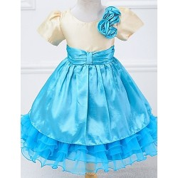 A Line Knee Length Flower Girl Dress Satin Tulle Short Sleeve