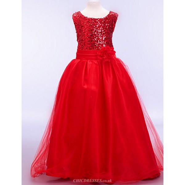 A-line / Ball Gown Ankle-length Flower Girl Dress - Cotton / Tulle / Sequined / Polyester Sleeveless Flower Girl Dresses