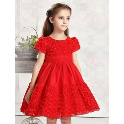 Ball Gown Knee Length Flower Girl Dress Tulle Cotton Short Sleeve