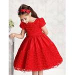 Ball Gown Knee-length Flower Girl Dress - Tulle/Cotton Short Sleeve Flower Girl Dresses