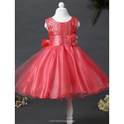 A Line Knee Length Flower Girl Dress Satin Tulle Sequined Sleeveless