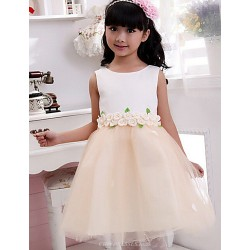 Ball Gown Tea-length Flower Girl Dress - Cotton Sleeveless