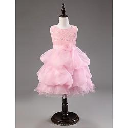 Ball Gown Knee Length Flower Girl Dress Cotton Organza Sleeveless