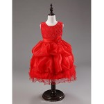 Ball Gown Knee-length Flower Girl Dress - Cotton/Organza Sleeveless Flower Girl Dresses