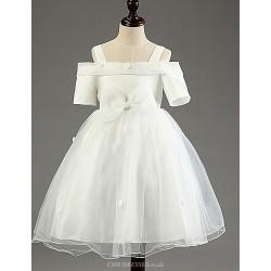 Princess Knee Length Flower Girl Dress Cotton Tulle Polyester Short Sleeve
