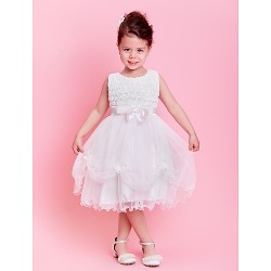 A Line Princess Knee Length Flower Girl Dress Lace Tulle Sleeveless