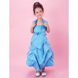 A Line Ball Gown Tea Length Flower Girl Dress Satin Sleeveless