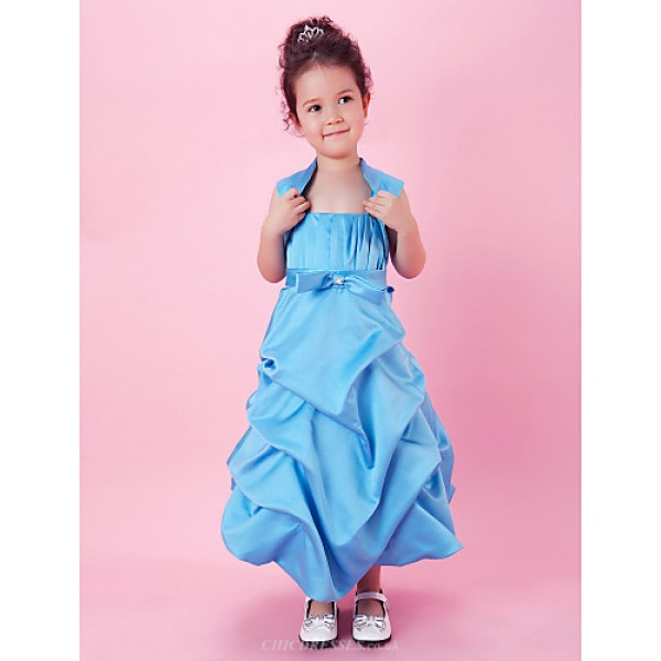 A-line/Ball Gown Tea-length Flower Girl Dress - Satin Sleeveless Flower Girl Dresses