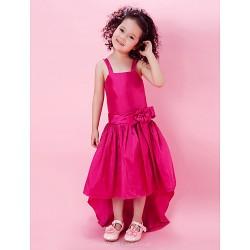A Line Princess Knee Length Flower Girl Dress Taffeta Sleeveless