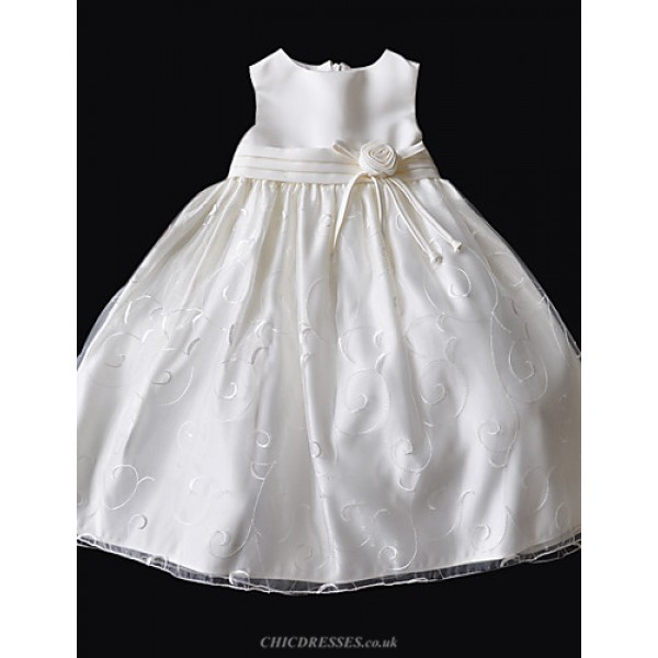 Princessa Line Knee Length Flower Girl Dress Taffetacottontulle