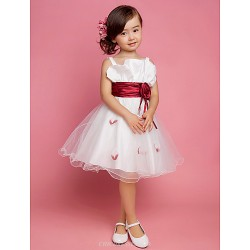 A Line Princess Knee Length Flower Girl Dress Satin Tulle Sleeveless