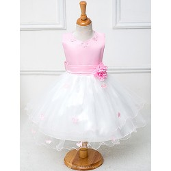 A Line Knee Length Flower Girl Dress Cotton Tulle Polyester Sleeveless
