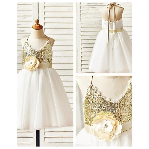 A-line Knee-length Flower Girl Dress - Tulle / Sequined Sleeveless Flower Girl Dresses