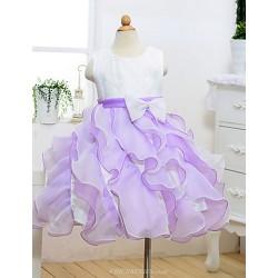 A Line Knee Length Flower Girl Dress Cotton Tulle Polyester Sleeveless