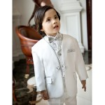 White Polester/Cotton Blend Ring Bearer Suit - 5 Pieces Flower Girl Dresses