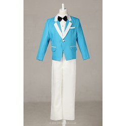 Blue Polester Cotton Blend Ring Bearer Suit 4 Pieces