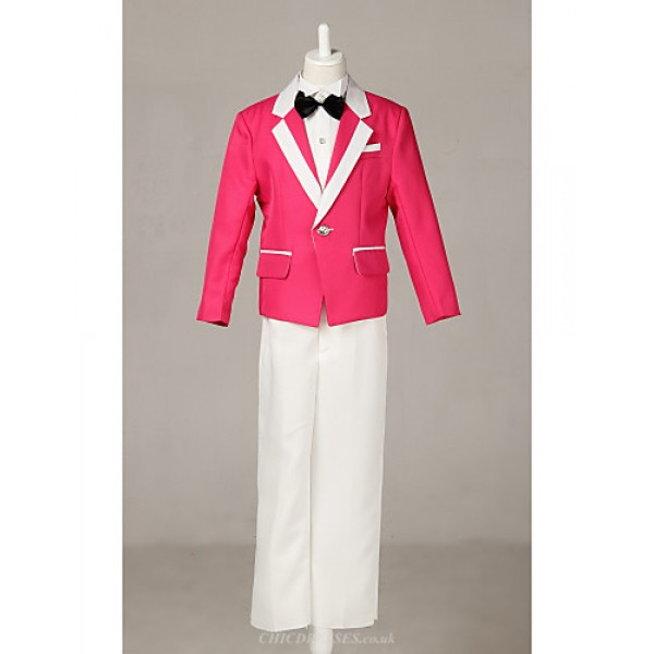 Fuchsia Polester/Cotton Blend Ring Bearer Suit - 4 Pieces Flower Girl Dresses
