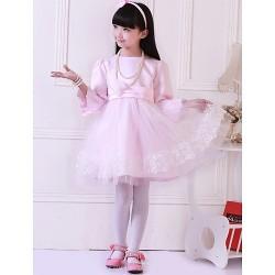 Princess Knee Length Flower Girl Dress Satin Tulle 3 4 Length Sleeve