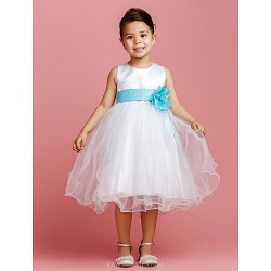 Ball Gown Tea Length Flower Girl Dress Satin Tulle