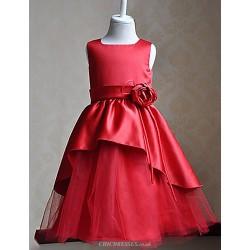 A Line Knee Length Flower Girl Dress Sleeveless
