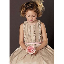 A Line Knee Length Flower Girl Dress Short Sleeve