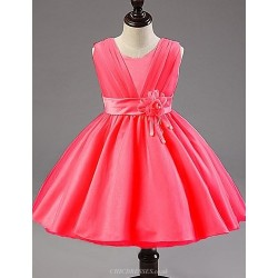 Flower Girl Dress Knee Length Satin Tulle A Line Princess Sleeveless Dress
