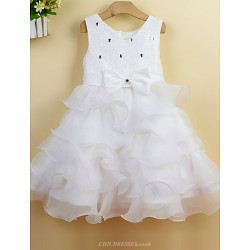 Ball Gown Knee-length Flower Girl Dress - Lace/Satin Sleeveless