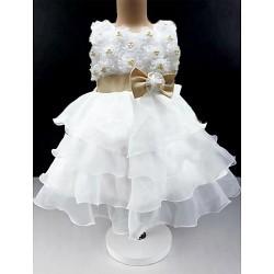 Ball Gown Knee Length Flower Girl Dress Cotton Tulle Sleeveless