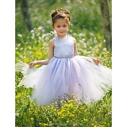 Ball Gown Floor Length Flower Girl Dress Satin Tulle Sleeveless