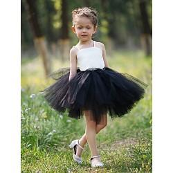 Ball Gown Short Mini Flower Girl Dress Satin Tulle Sleeveless